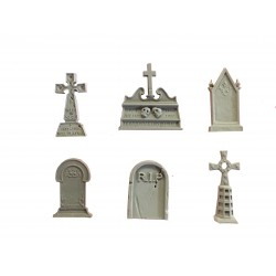SET OF SIX DIFFERENT GRAVE HEADSTONES